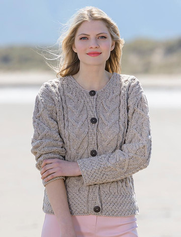 Aran Cable Knit Cardigan - Wicker