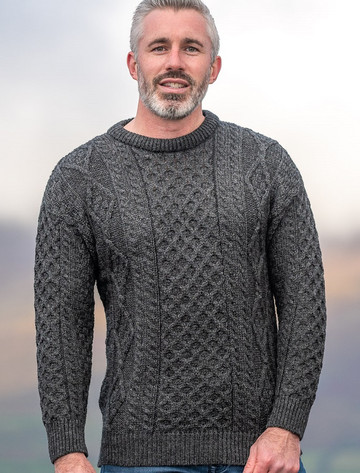 Men's Cable Knit Crew Neck Aran Wool Sweater - Charcoal