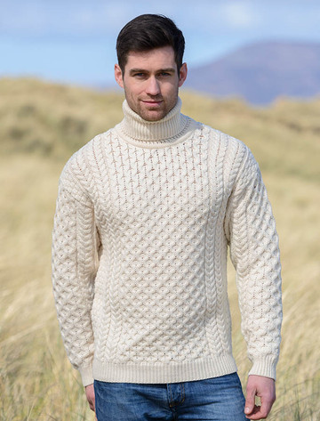 Mens Wool Turtleneck Sweater - Natural White