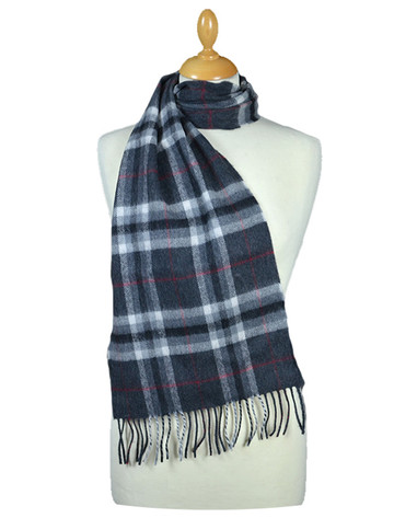 Fine Merino Plaid Scarf - Grey Red