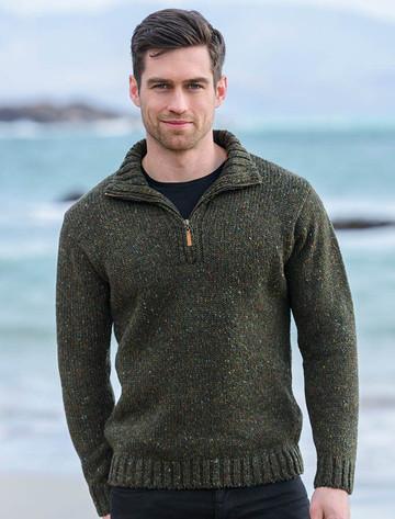 Donegal Tweed Half Zip Sweater - Forest Green