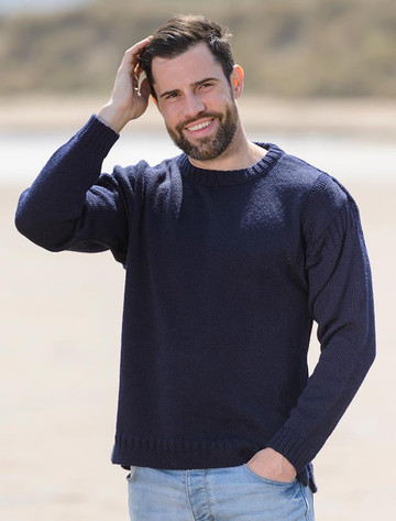 Mens Crew Neck Guernsey Sweater - Navy