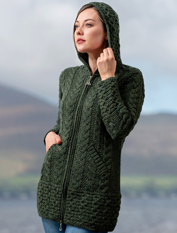 Hooded Coatigan with Celtic Knot Zipper Pull - Army Green