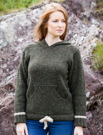 Wool Hoodie with Pouch Pocket - Forest Green