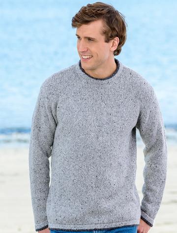 Wool Cashmere Crew Neck Sweater - Light Grey