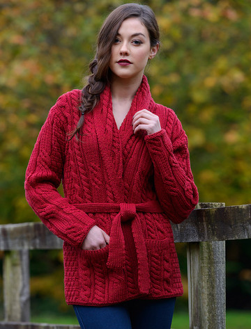 Shawl Collared Belted Cardigan - Chillipepper