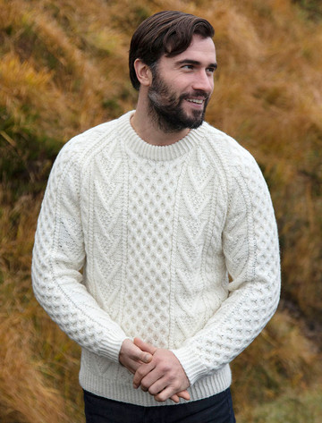 Mens Handknit Honeycomb Stitch Sweater - Natural White