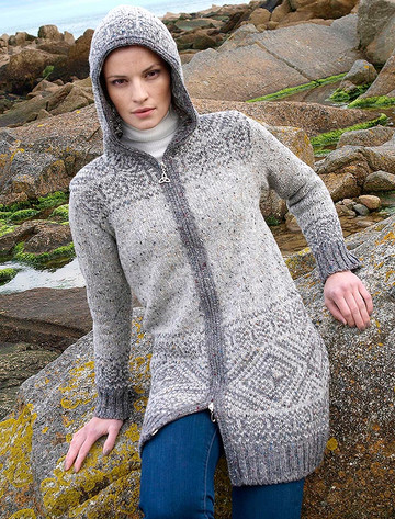 Women's Fair Isle Long Hooded Coatigan with Celtic Knot Zipper Pull