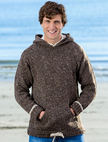 Men's Wool Hoodie with Pouch Pocket - Brown