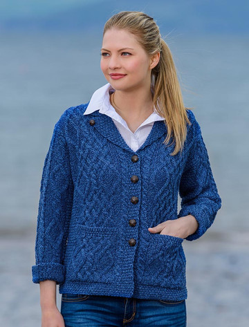 Revere Button Collar Aran Cardigan - Blue Marl