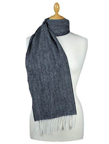 Narrow Lambswool Scarf - Grey Herringbone
