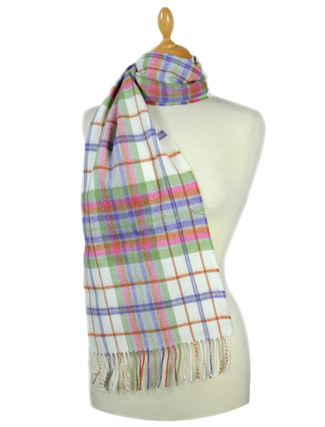 Fine Merino Plaid Scarf - Cream Pastel