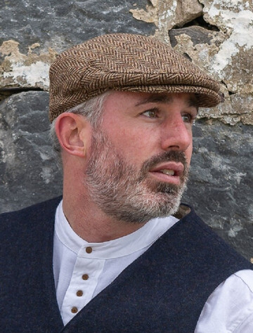 Donegal Tweed Herringbone Flat Cap - Brown