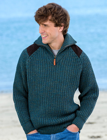 Fisherman's Half Zip Sweater with Patches - Moss