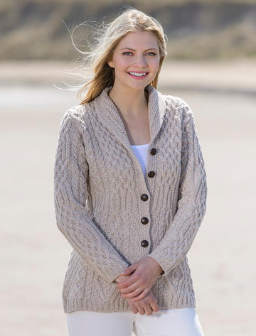 Merino Shawl Neck Cardigan - Wicker