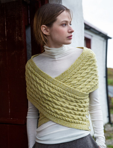 Wool Cashmere Aran Wrap with Buttoned Side - Lemon