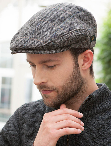 Trinity Tweed Flat Cap - Grey with Tan