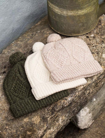 Handknit Aran Ski Hat - Moss Green, Natural White, Honey Oat.