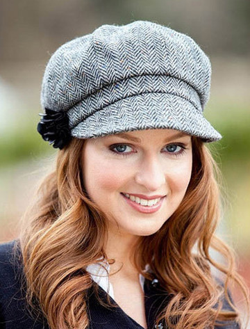 Ladies Tweed Newsboy Hat - Grey