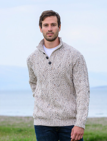 Buttoned Merino Wool Sweater - Oatmeal