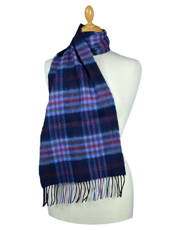 Fine Merino Plaid Scarf - Navy Blue Red