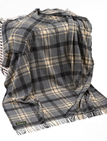 Lambswool Plaid Throw - Charcoal Beige Black