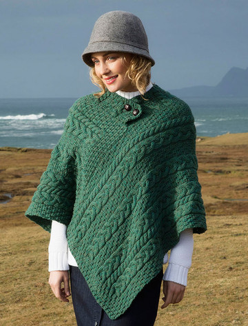 Cable Poncho with Aran Button Detail - Connemara