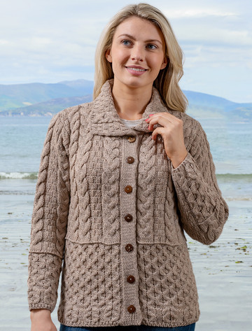 Honeycomb Button-Up Cardigan -  Wicker