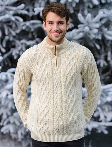 Zip-Neck Aran Sweater - Natural White