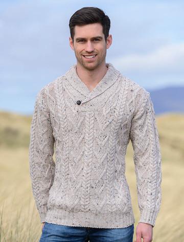 Shawl Collar Sweater - One Button Fisherman Sweater - Oatmeal