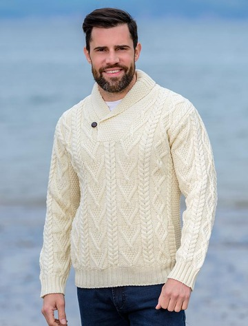 Shawl Collar Sweater - One Button Fisherman Sweater - Natural White