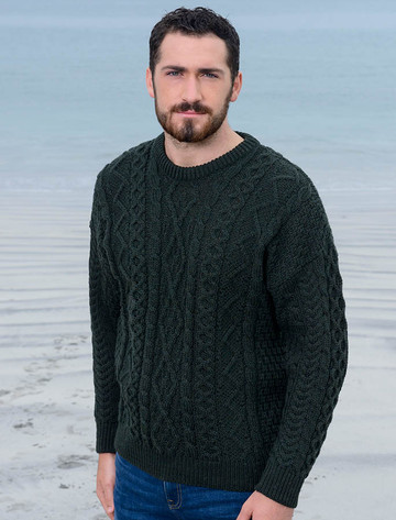 Merino Wool Diamond Sweater Mens - Army Green