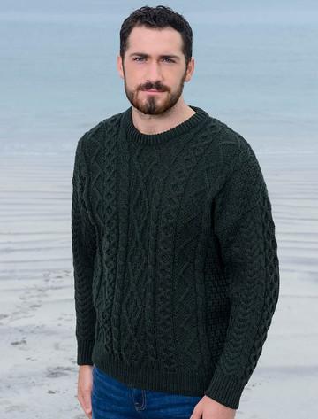 Merino Wool Diamond Sweater Mens - Army Green
