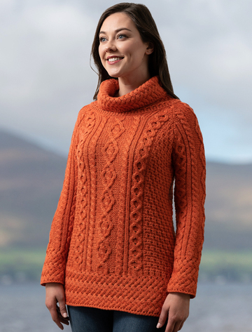 Aran Cowl Neck Tunic Sweater - Autumn Leaf