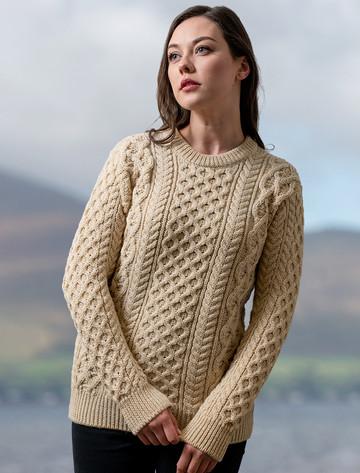 Heavyweight Merino Wool Aran Sweater - Oatmeal