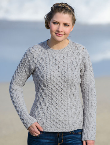 Women's Fisherman Sweater - Aran Sweater - Silver
