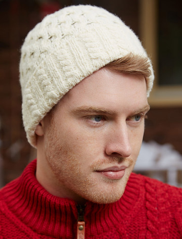 Wool Cashmere Aran Honeycomb Hat