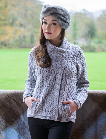 Aran Cable Crossover Neck Sweater - Grey