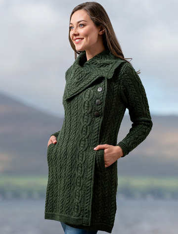 Large Collar Aran Coat - Army Green