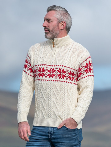 Winter Fair Isle Zip-Neck Aran Sweater - Natural White/Cherry