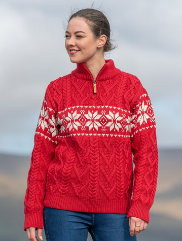 Winter Fair Isle Zip-Neck Aran Sweater -Cherry/Natural White