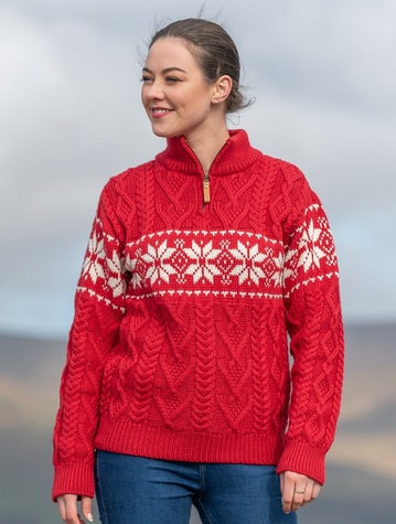Winter Fair Isle Zip-Neck Aran Sweater -Cherry/Natural White