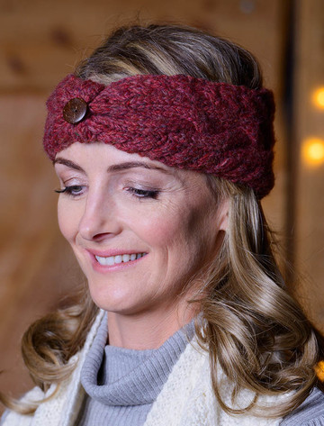 Fleece Lined Aran Cable Headband with Button - Burgundy