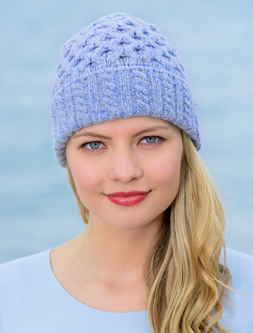 Women's Wool Cashmere Aran Honeycomb Hat - Sky Blue