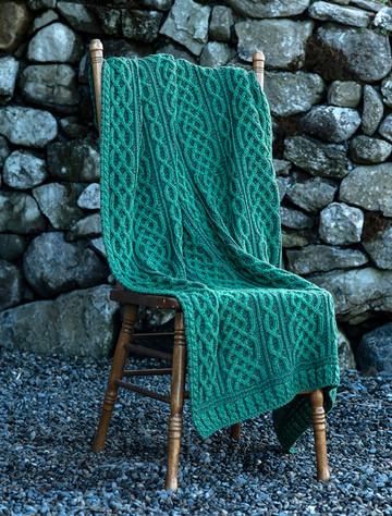 Plaited Aran Throw - Kiwi/Connemara