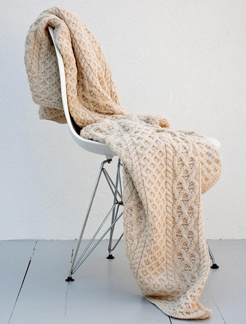 Merino Aran Throw - Oatmeal