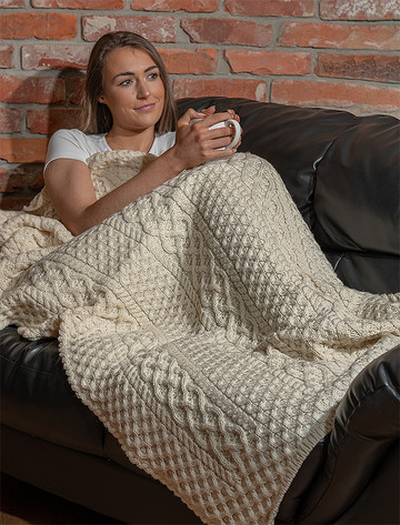 Merino Aran Throw - Natural White