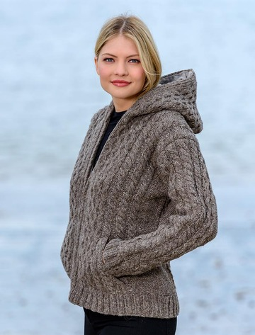 Handknit Fleece Lined Hooded Cardigan - Brown