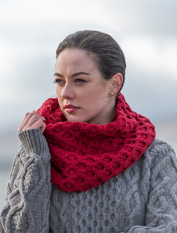 Aran Snood Scarf - Chillipepper