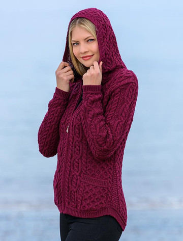 Cable Knit Hoodie with Celtic Knot Zipper Pull - Wine